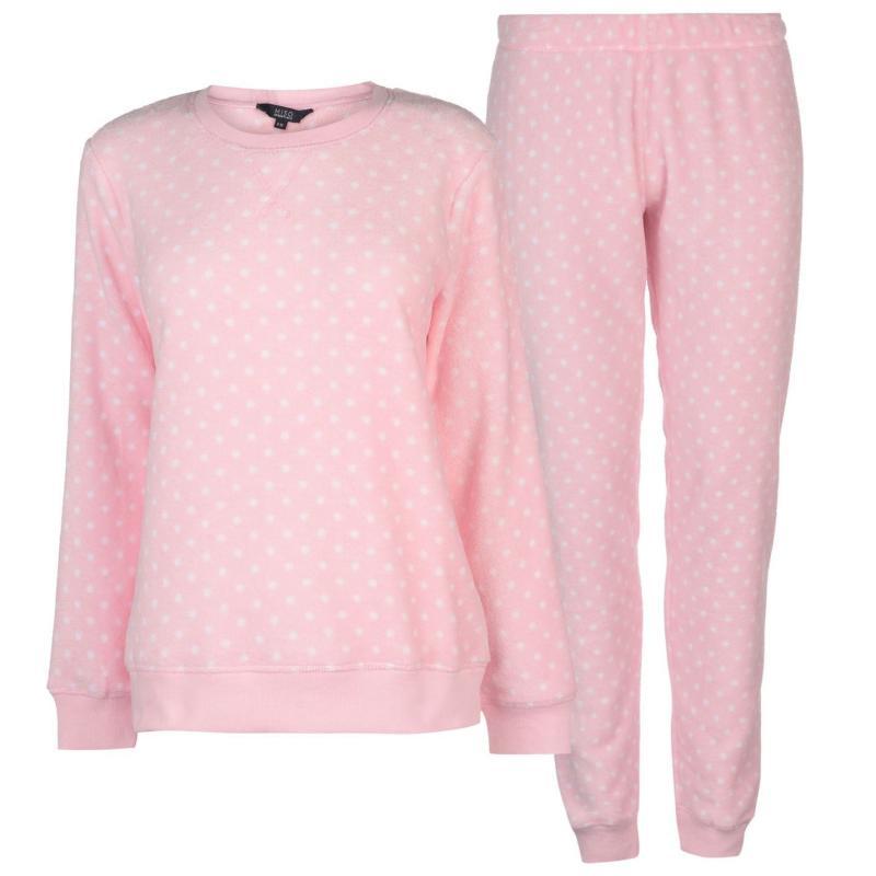 Pyžama Miso Cuddle Fleece Pyjama Set Ladies Pink Spots