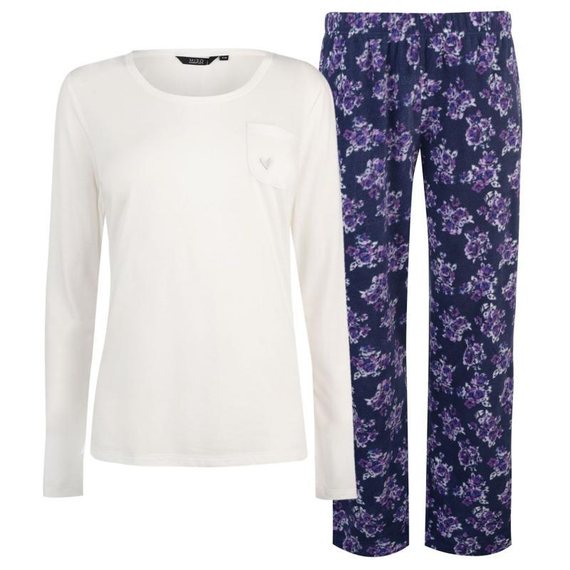 Pyžama Miso Jersey Fleece PJ Set Ladies Cream Floral