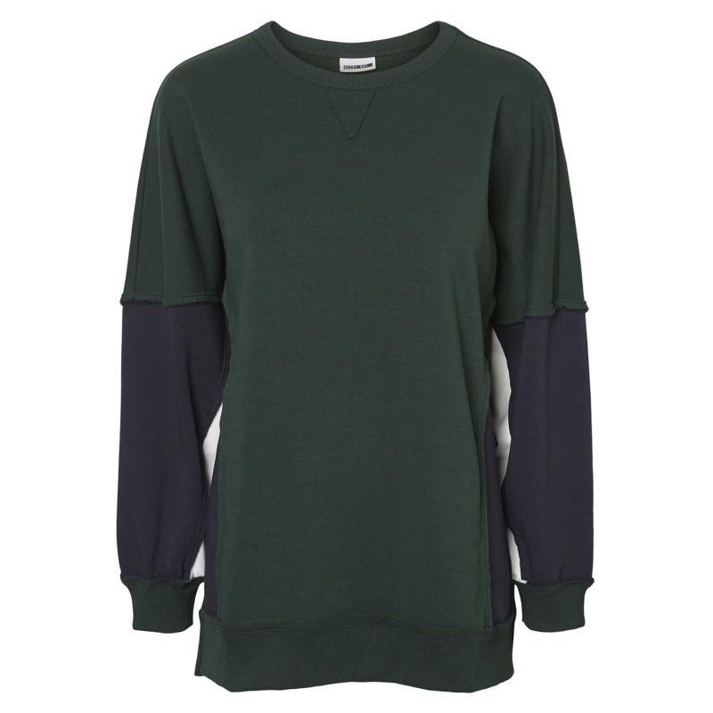 Mikina Noisy May Pom Block Panel Sweatshirt Pine Grove