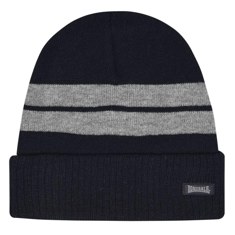 Lonsdale Turn Up Beanie Hat Mens Navy