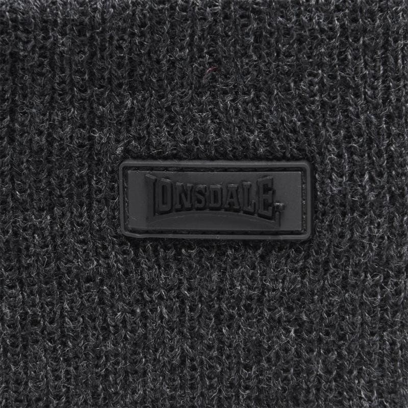 Lonsdale Turn Up Beanie Hat Mens Charcoal