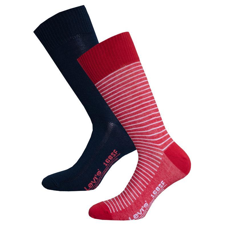 Ponožky Levis Mens Regular Vintage 2 Pack Socks Red navy