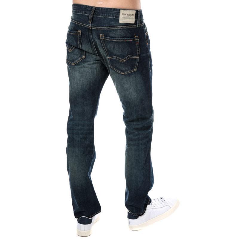 Replay Mens Waitom Regular Slim Fit Jeans Denim