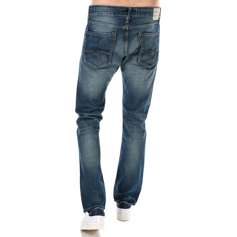 Replay Mens Waitom Regular Slim Fit Jeans Denim