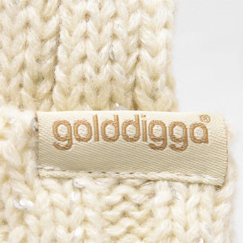 Golddigga Sparkling Beanie Hat Ladies Ecru
