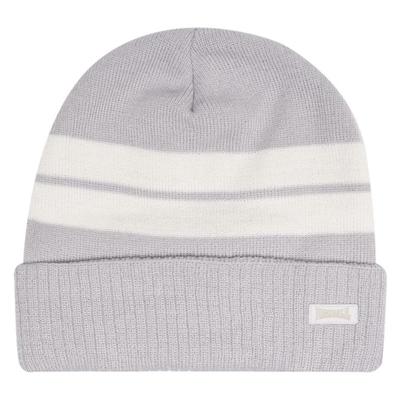 Lonsdale Turn Up Beanie Hat Mens Grey/Ecru