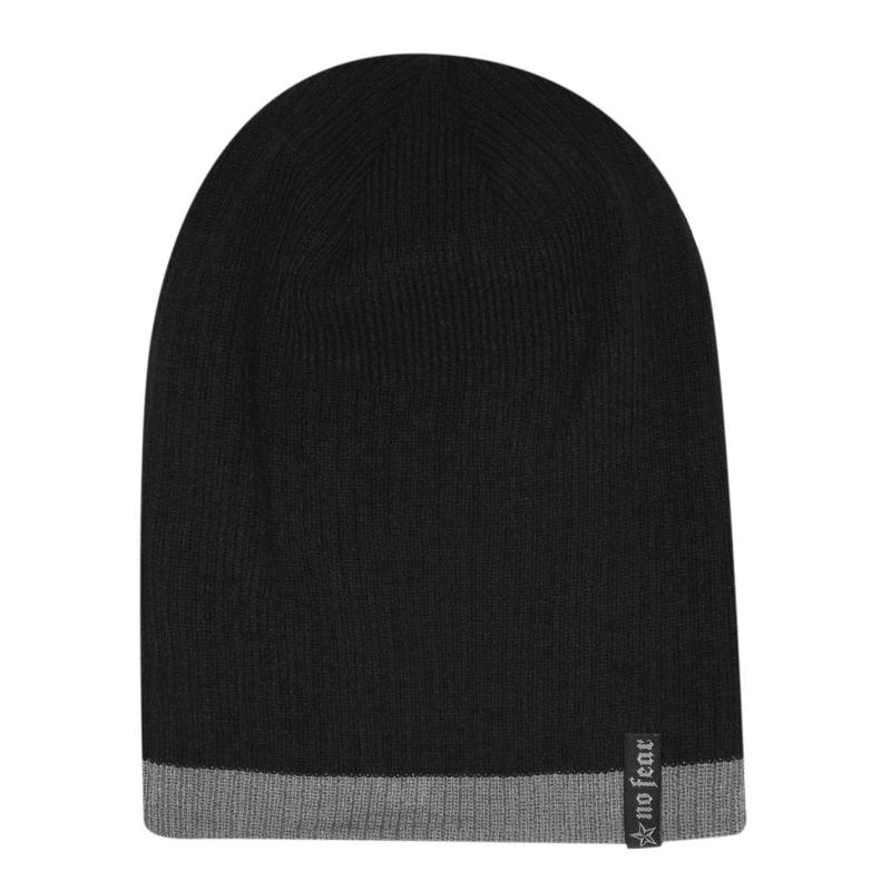 No Fear Fang Beanie Hat Mens Black/Grey