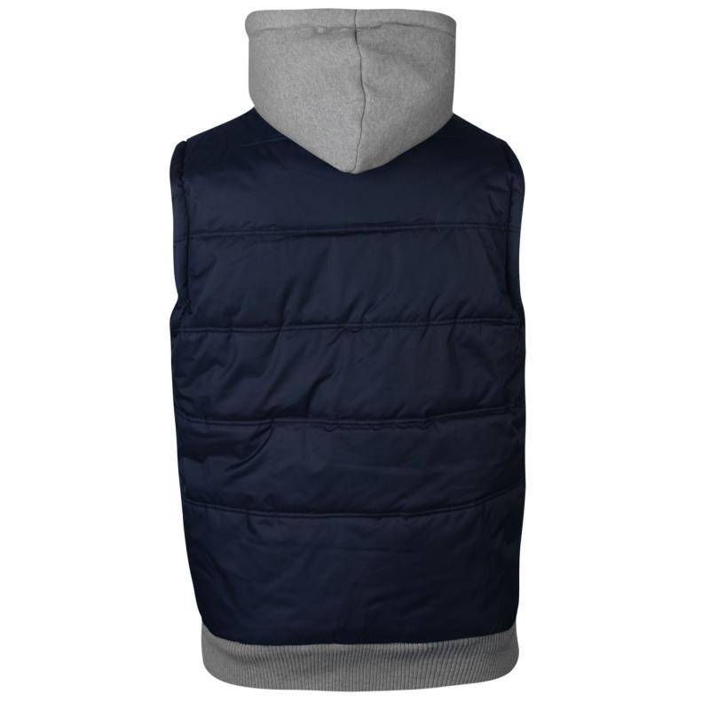 Lee Cooper Sweater Hooded Gilet Mens Navy/Mid Grey