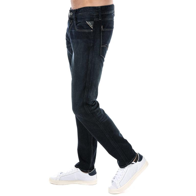 Replay Mens Anbass Slim Fit Jeans Dark Blue