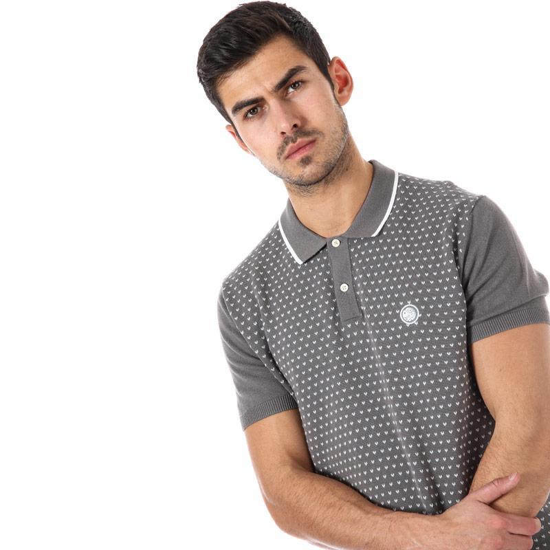Pretty Green Mens Birdseye Knitted Polo Shirt Grey
