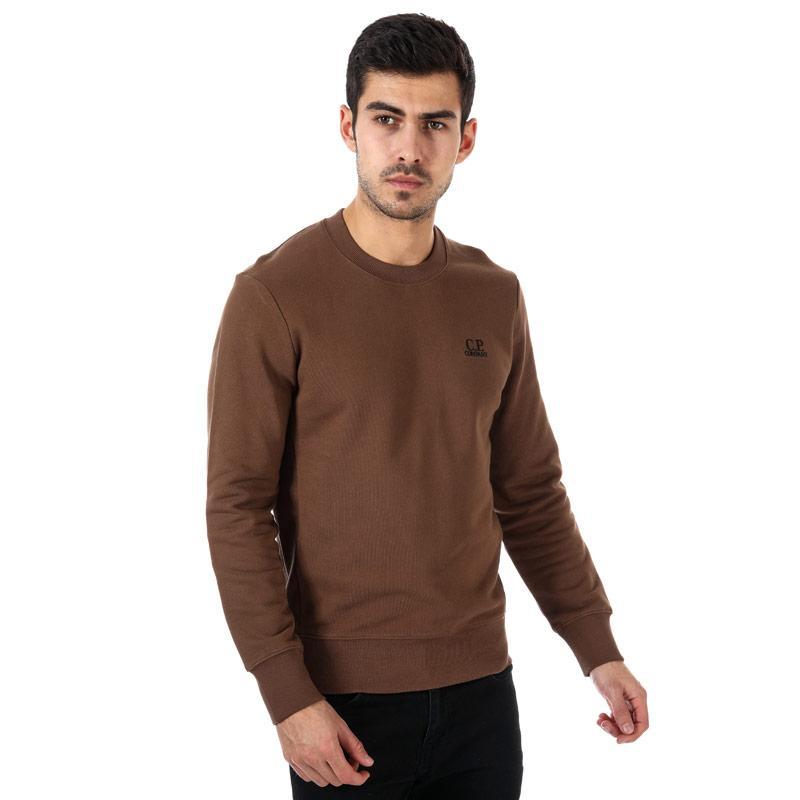 Mikina C.P. Company Mens Diagonal Raised Fleece Sweat Brown