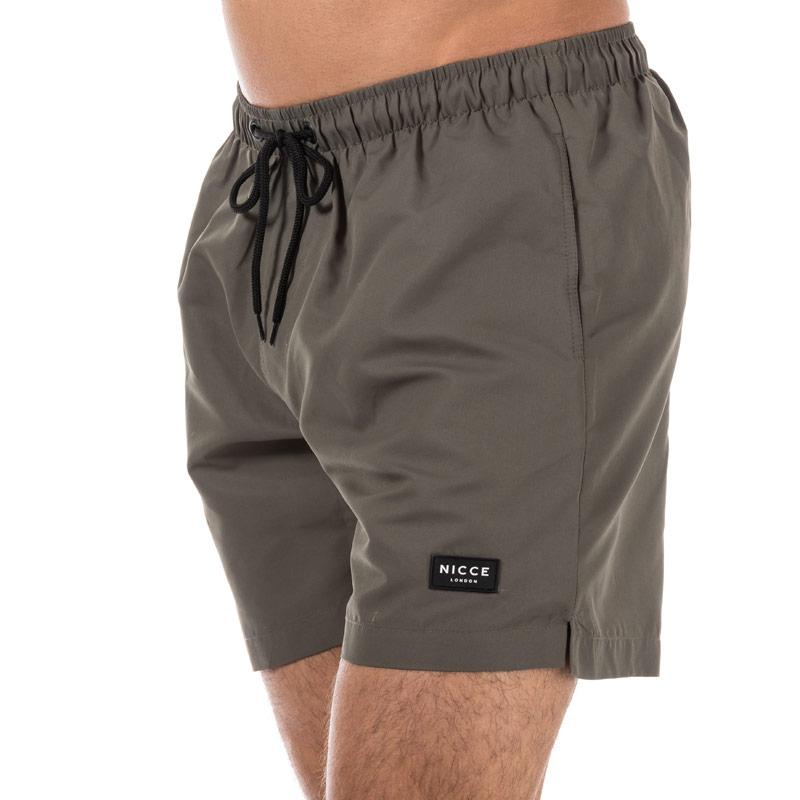 NICCE Mens Logo Swim Short Khaki