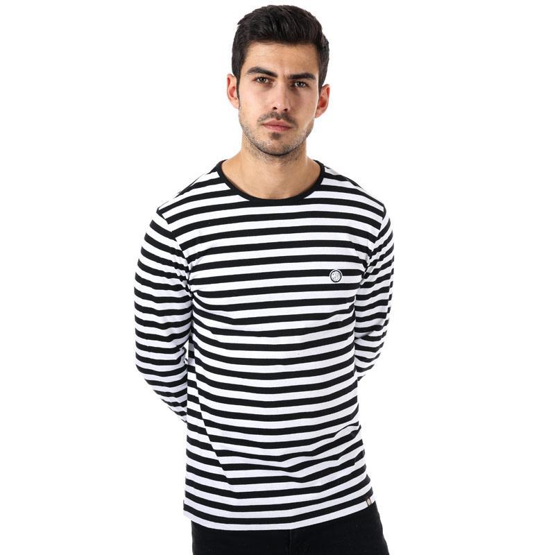 Tričko Pretty Green Mens Long Sleeve Striped T-Shirt Black