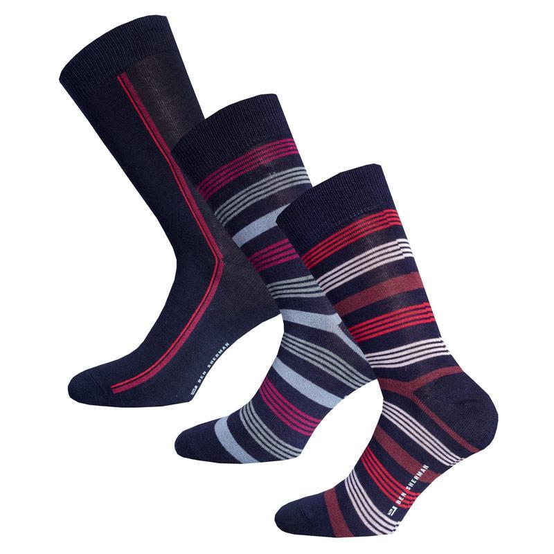 Ponožky Ben Sherman Mens Ratheriland 3 Pack Socks Navy