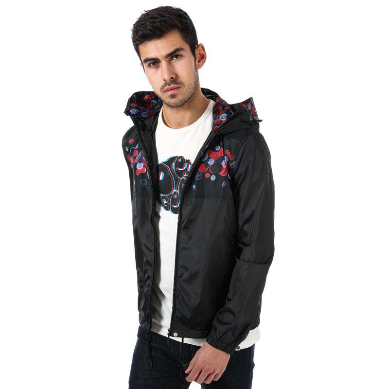 Pretty Green Mens Spot Print Hooded Jacket Black