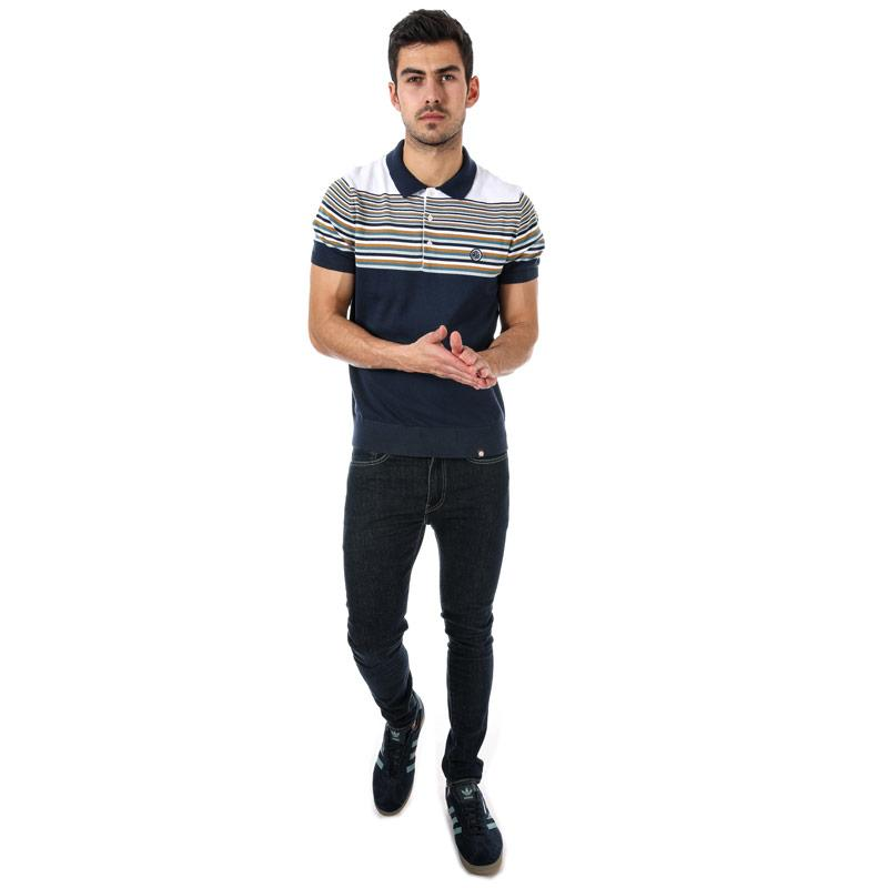 Pretty Green Mens Striped Knitted Polo Shirt Navy