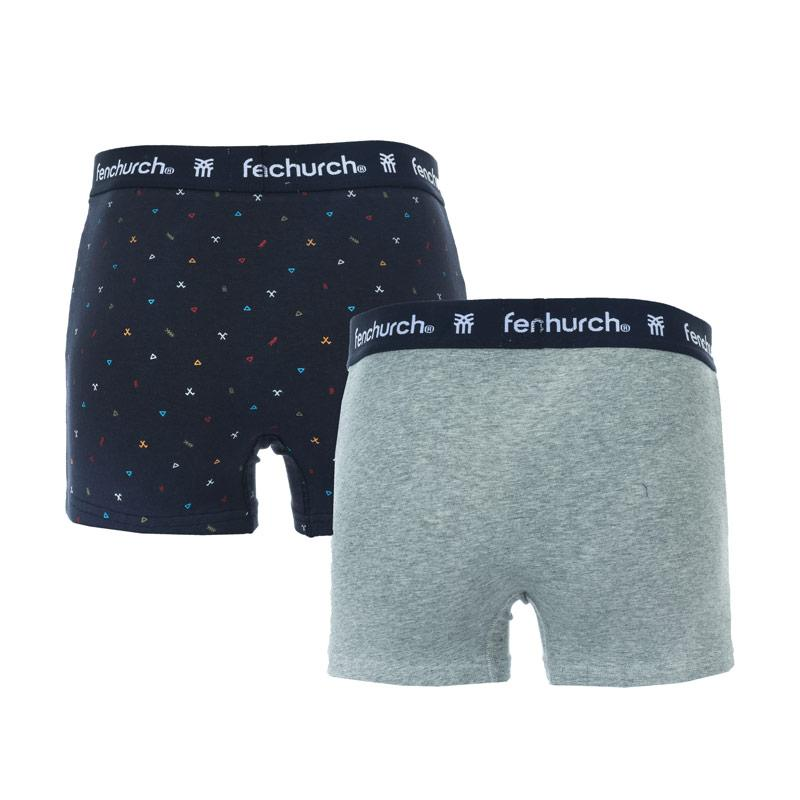 Spodní prádlo Fenchurch Mens Fabian 2 Pack Boxer Shorts Grey blue