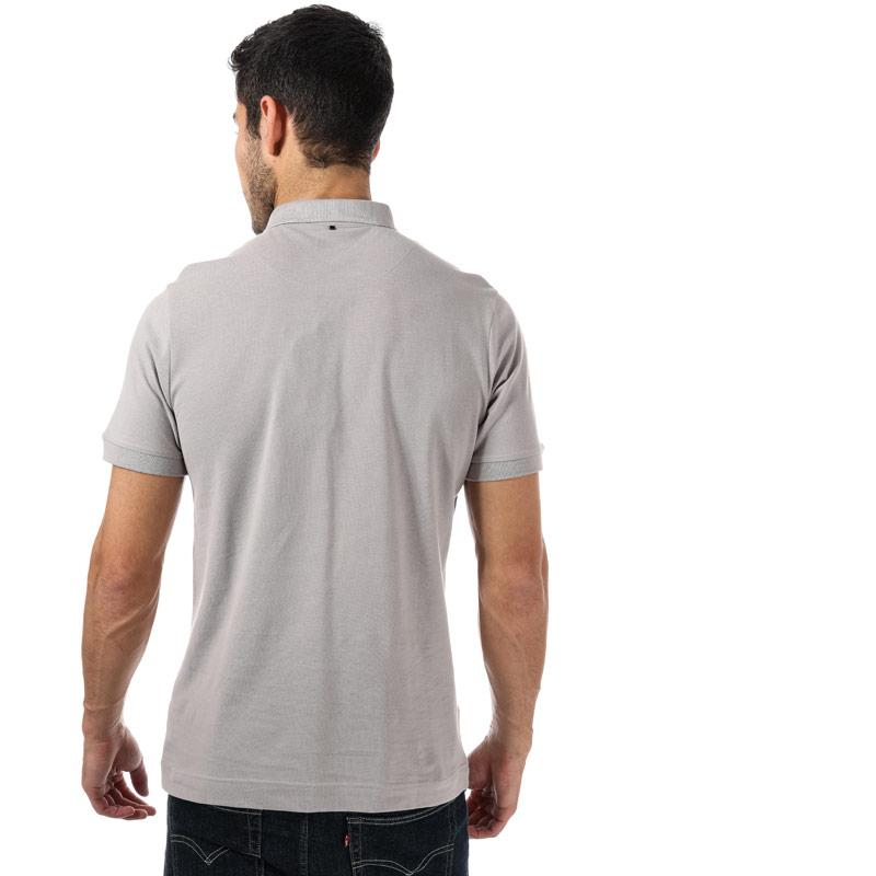 Pretty Green Mens Floral Embriodery Polo Shirt Grey