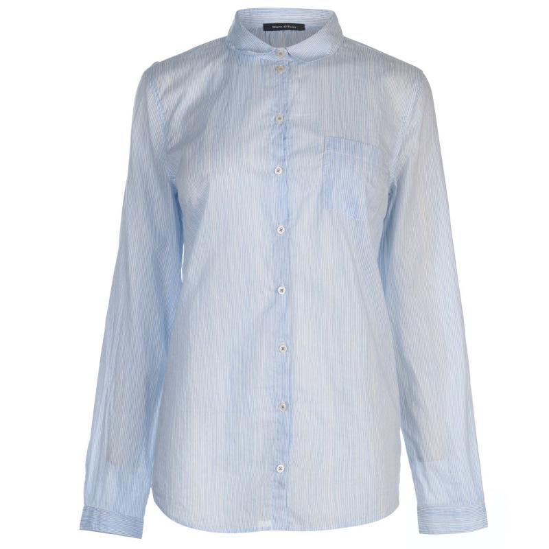Košile Marc O Polo Long Sleeve Shirt White/Blue