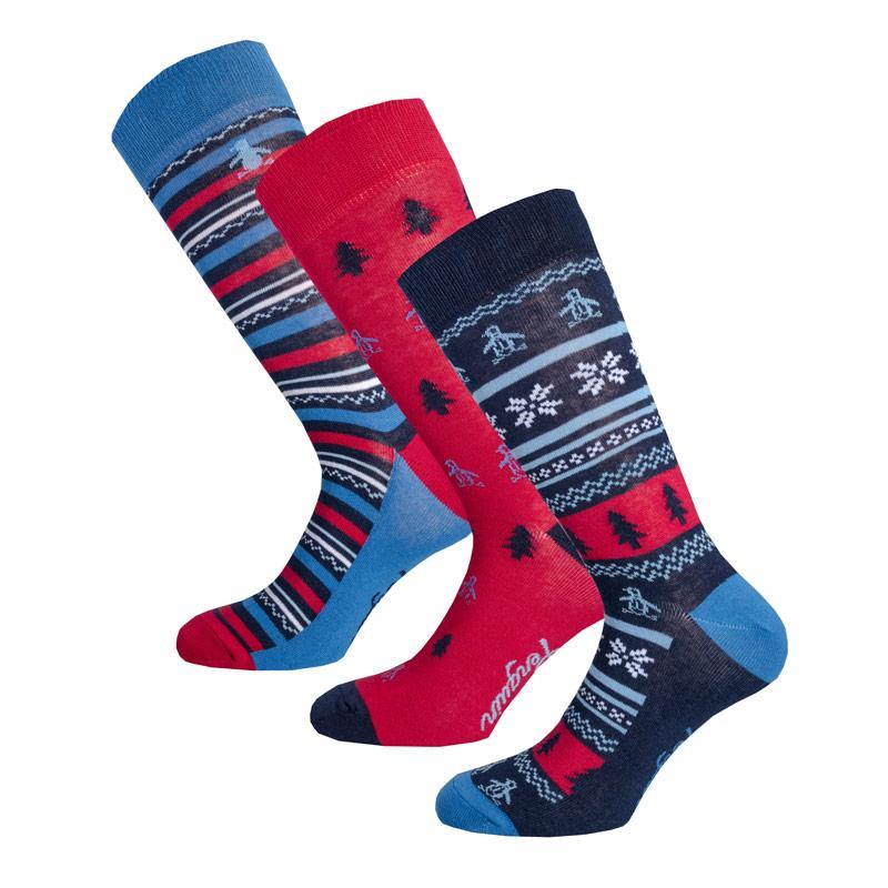 Ponožky Original Penguin Mens 3 Pack Sock Gift Set Red Blue