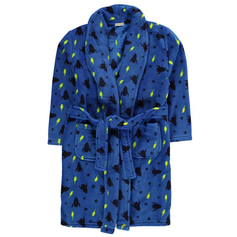 Crafted AOP Robe Childrens Navy Boys