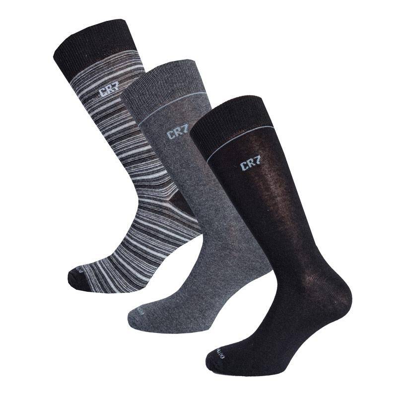 Ponožky Mens CR7 3 Pack Socks Black Grey