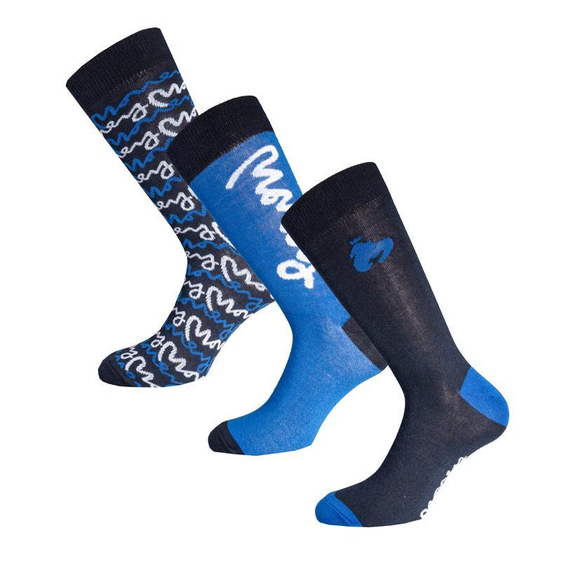 Ponožky Money Mens Megala 3 Pack Socks Tin Gift Set Navy-White