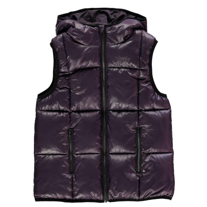USA Pro Quilted Gilet Junior Girls Purple Wet