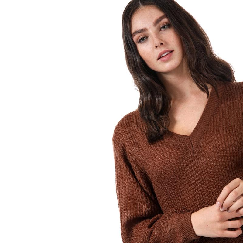 Svetr Brave Soul Womens Balloon Sleeve V-Neck Jumper Mocha