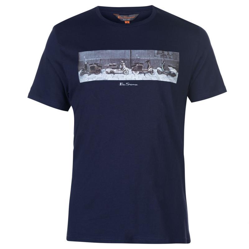 Tričko Ben Sherman Print Short Sleeve T Shirt Mens Navy