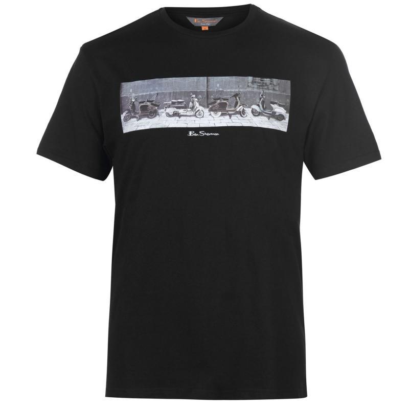 Tričko Ben Sherman Print Short Sleeve T Shirt Mens Black
