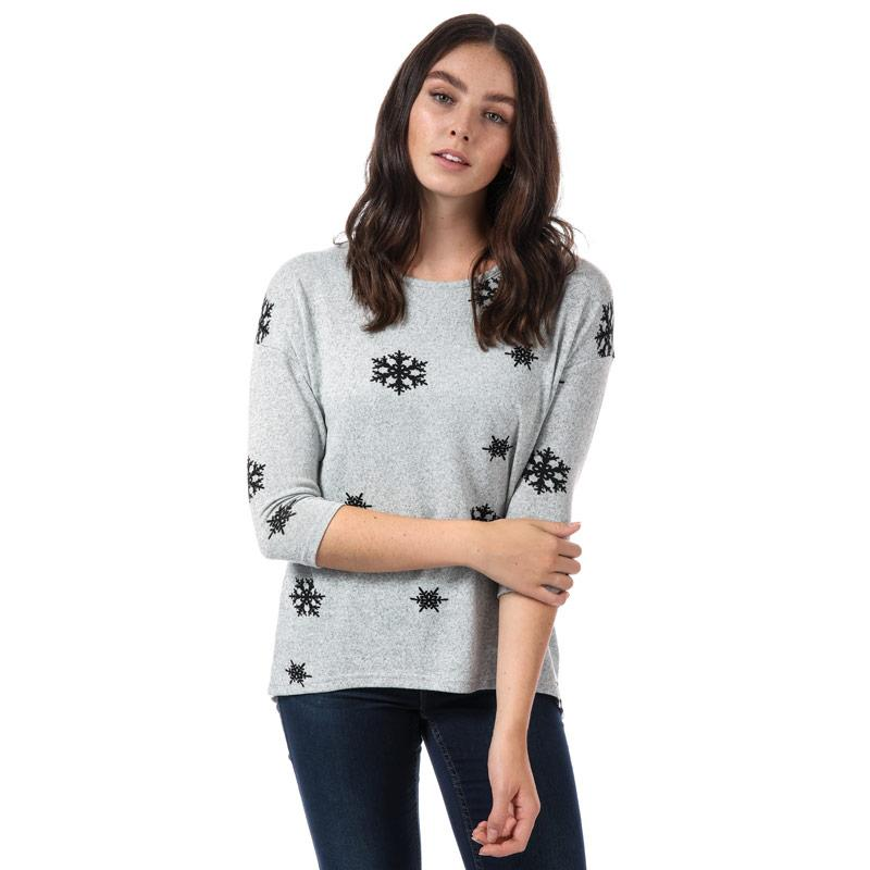 Svetr Vero Moda Womens Snowflake Jumper Light Grey
