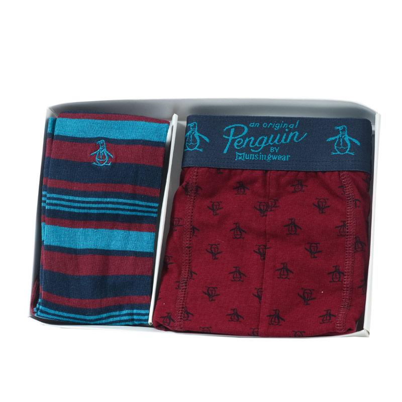 Ponožky Original Penguin Mens Sock and Boxer Short Gift Set Navy Red