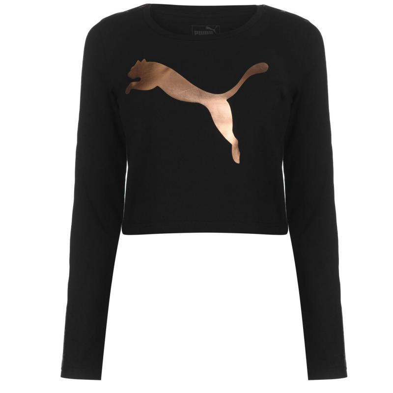Puma Long Sleeve Crop T Shirt Ladies Black/RoseGold