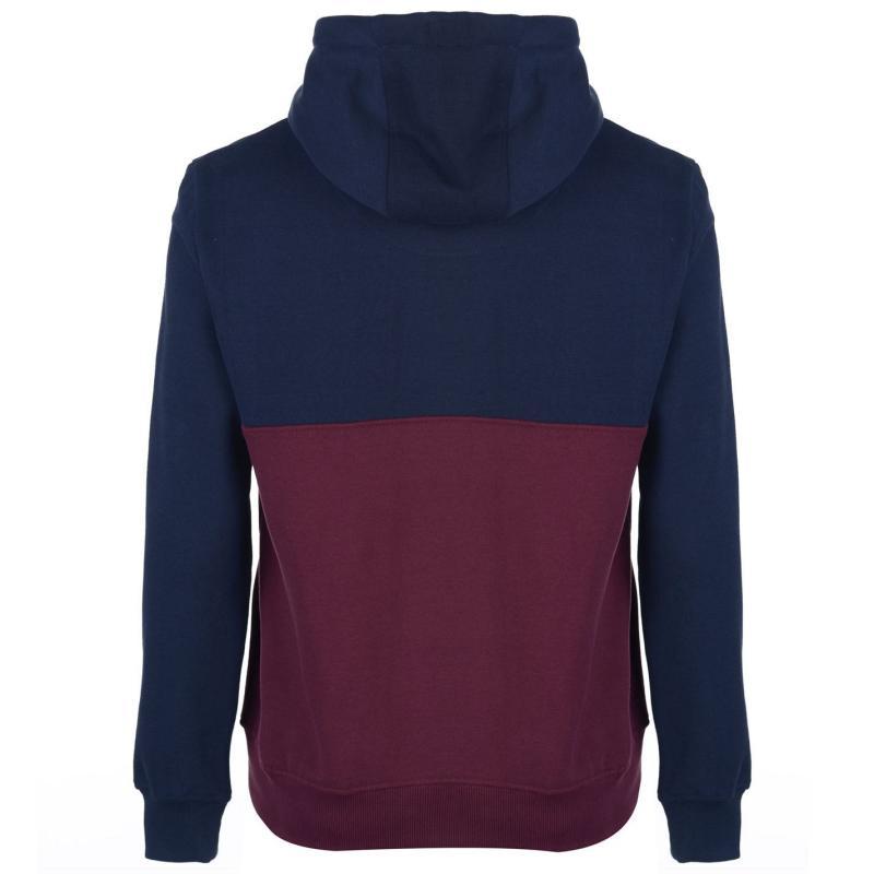 Mikina SoulCal Colour Block Zip Hoodie Mens Navy/Burgundy