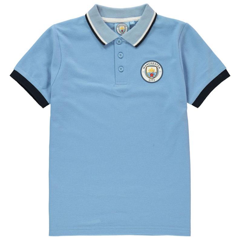 Source Lab Manchester City FC Polo Shirt Junior Boys Sky Blue
