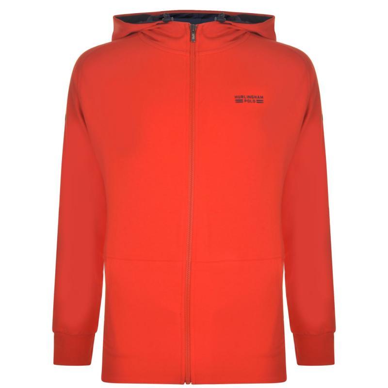 Mikina Hurlingham Polo 1875 Zipped Hooded Sweatshirt Fiery Red