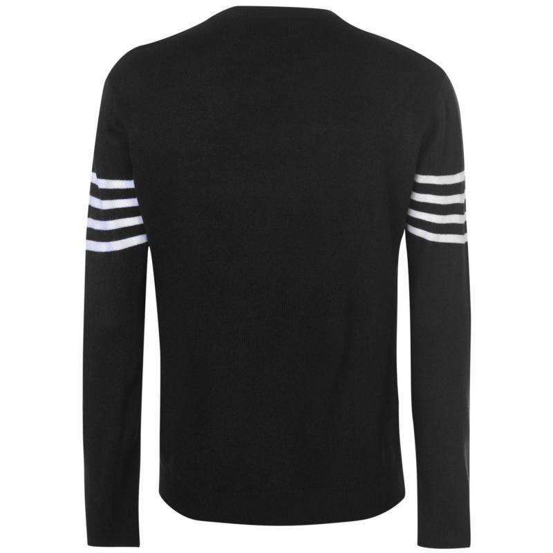Pierre Cardin Striped Chest Crew Knit Mens Black