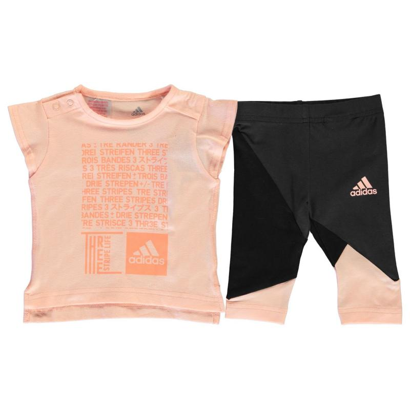 Tepláky adidas Print Tee and Tights Set Babies White/Blue