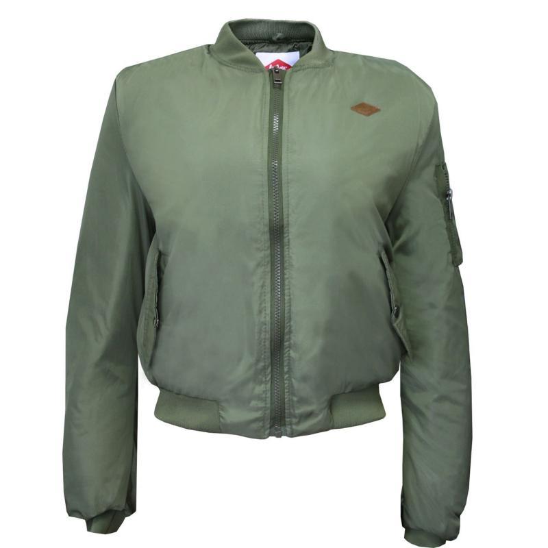 Lee Cooper Bomber Jacket Ladies Army Green