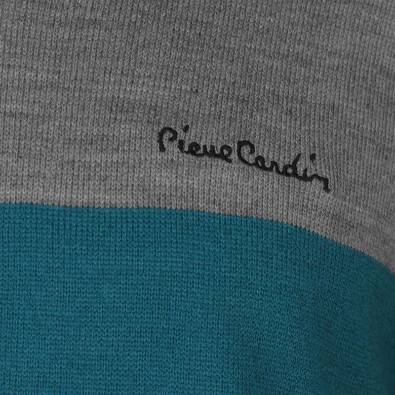 Pierre Cardin Block Colour V Neck Knit Mens Gry M/Teal/Blk