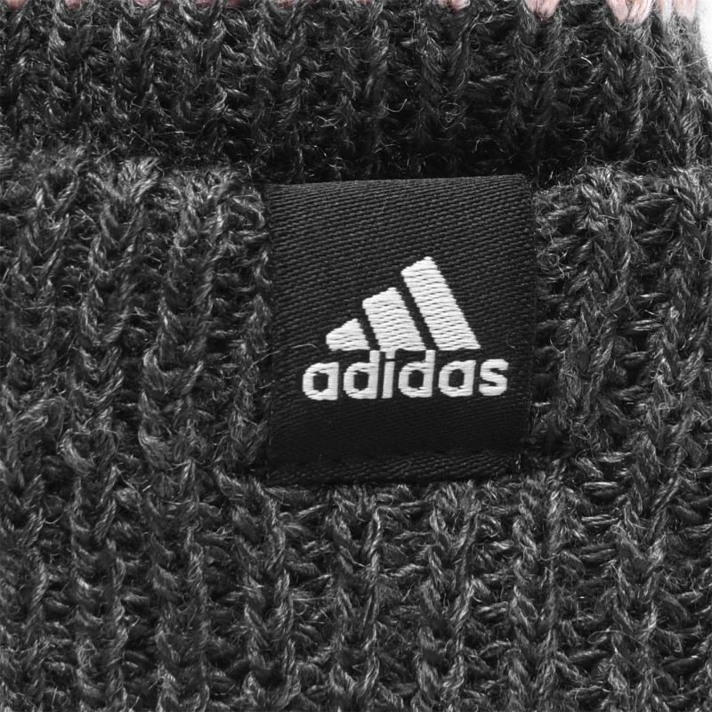 Adidas Fleece Three Stripe Bobble Hat Ladies Grey/Pink