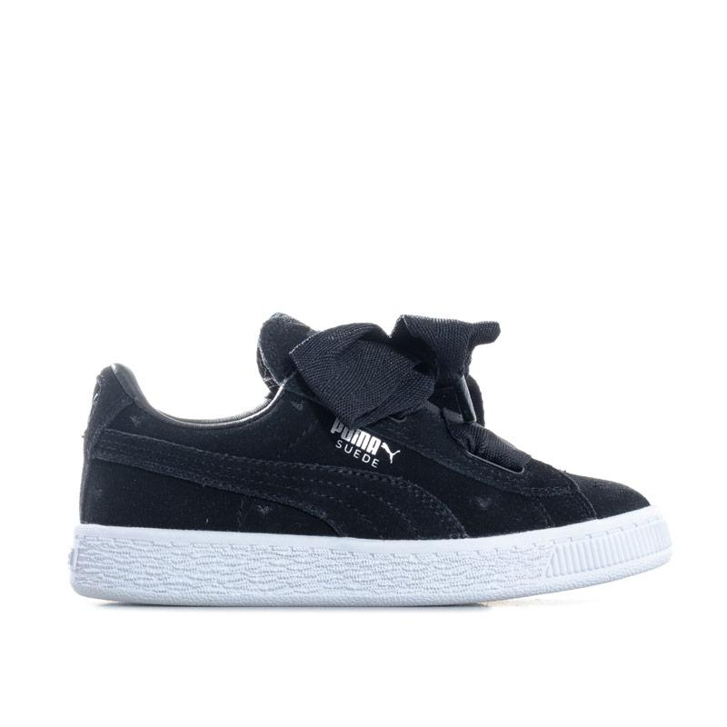 Puma Children Girls Suede Heart Valentine Trainers Black