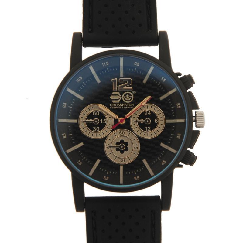 Crosshatch Chequered Rubber Strap Watch Mens Black/White