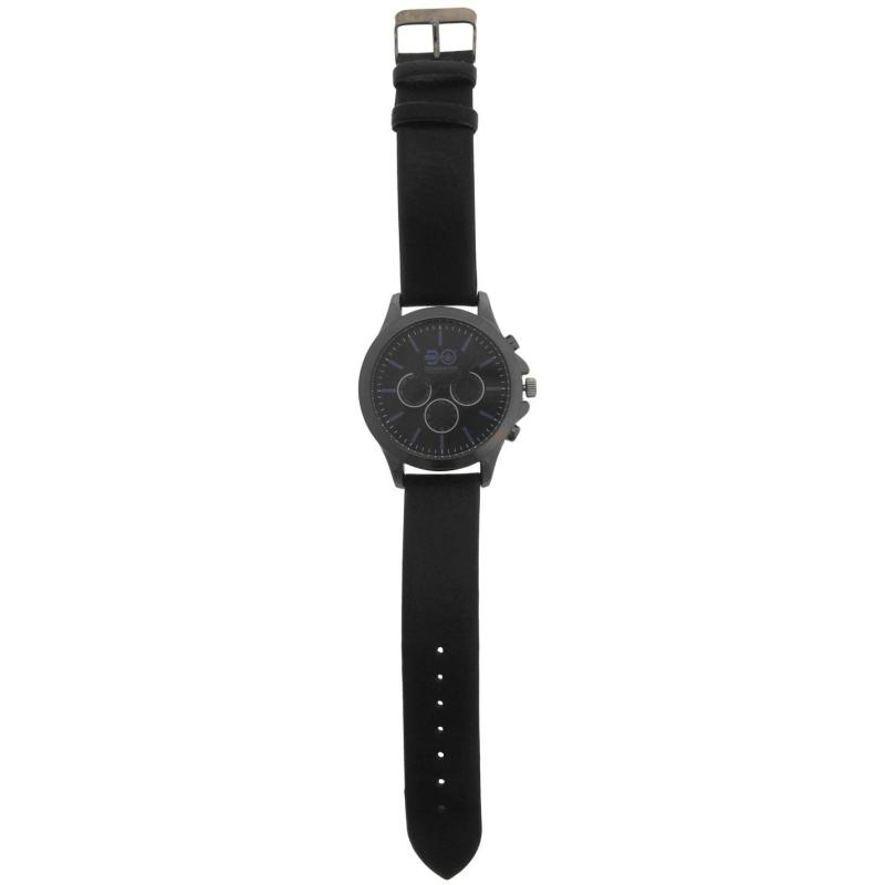 Crosshatch Leather Strap Watch Mens Black/Blue