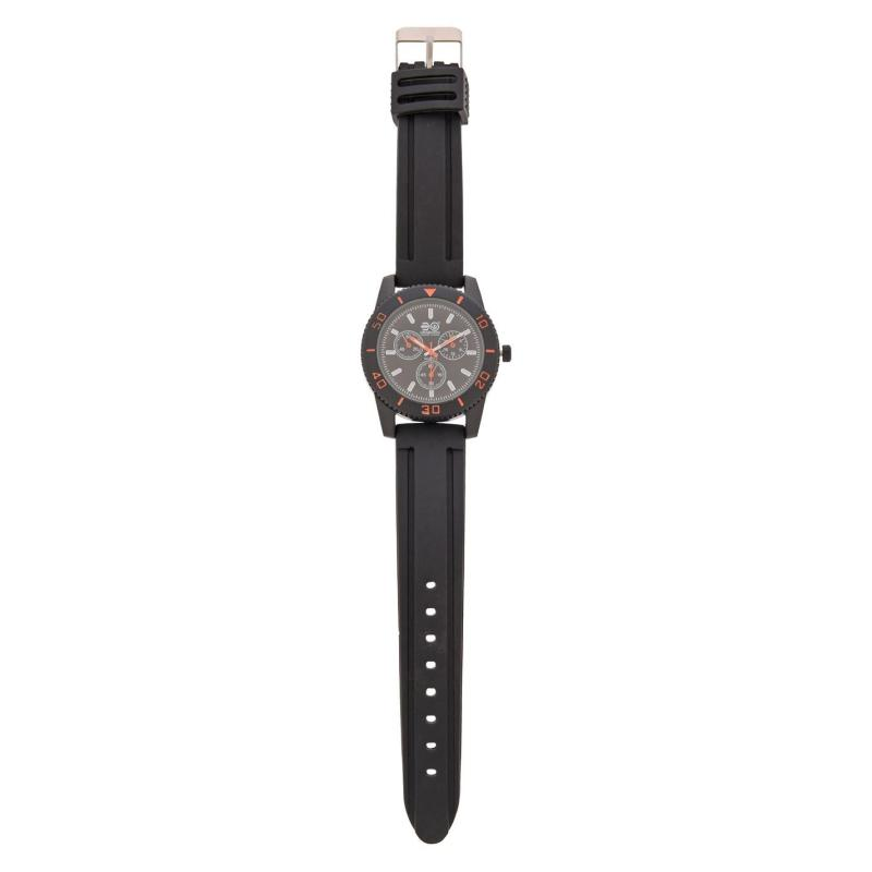 Crosshatch Quartz Rubber Strap Watch Mens Black/ Orange