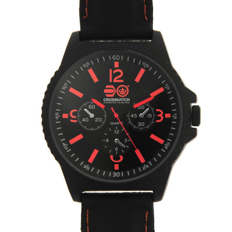 Crosshatch Quartz Stitched Rubber Strap Watch Mens Black/ Red