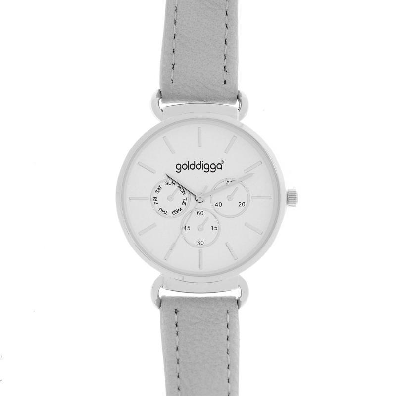 Golddigga Numberless Watch Ladies Grey/Silver