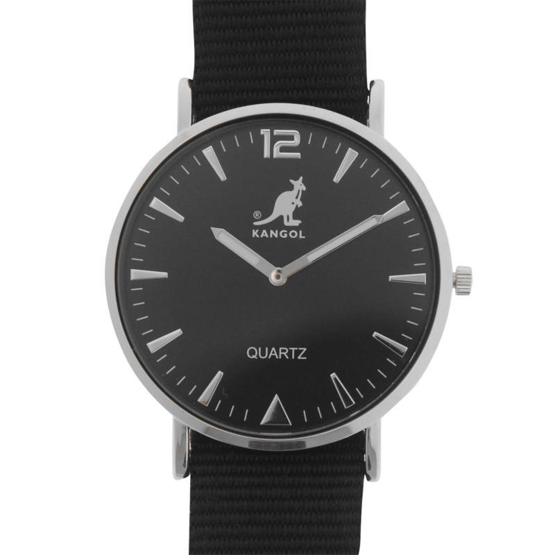 Kangol Quartz Stitched Strap Watch Mens Black