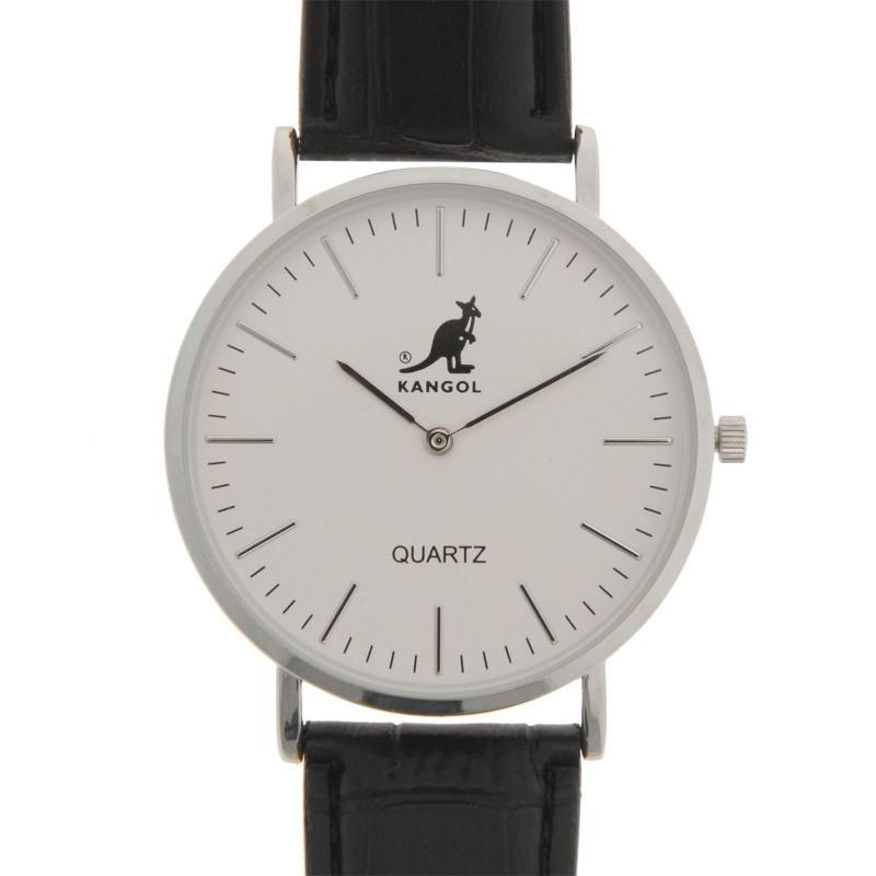 Kangol Quartz Stitched Strap Watch Mens Silver/ Black